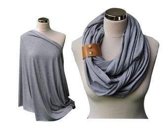 Nursing Scarf, Nursing Cover, baby shower gift, Breastfeeding Cover, Heather grey Nursing Scarf, infinity scarf