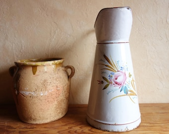 Vintage Large White Enamel Pitcher Hand made painted Flowers / French Jug Circa 1920