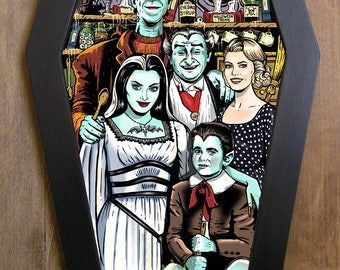 The Munsters coffin framed print.