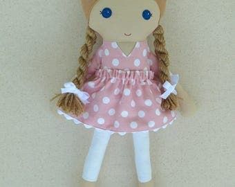 Fabric Doll Rag Doll Light Brown Haired Girl with Braids in Pink and White Polka Dotted Dress
