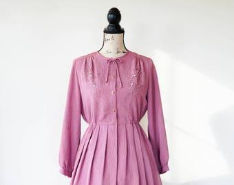 Vintage Embroidery Jacquard Dress Size M, 1980s Dress, Vintage Japanese Dress, Vintage Dress, Retro Clothing, 80s Dress, Secretary Dress
