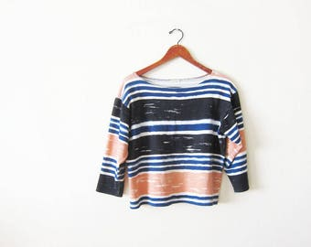 vintage 90s shirt - 90s striped long sleeve shirt - striped boatneck top - 90s clothing - slouchy oversized shirt - pink blue black