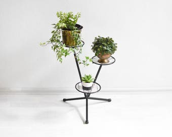 Black white plant stand, 60s flower stand, metal flower bench, 60s plant stand, Mid Century modern plant stand