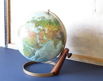 Vintage Replogle world globe, mid century style decor, Replogle 12 inch globe, world map, office decor