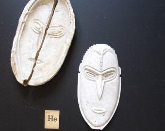 Mid Century Modern minimalist sculpture, plaster head cast of a man, modern decor, minimalist decor