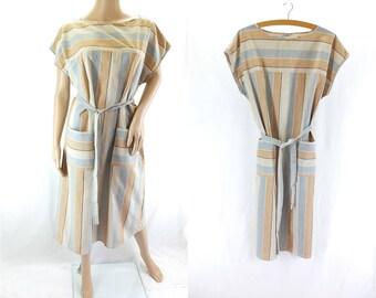 Vintage Striped Shift Dress in White & Beige - Size 18 UK  (14 US)