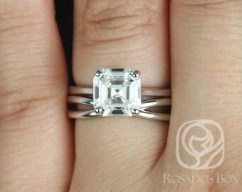 Rosados Box Skinny Denise 8mm & PLAIN Lima 14kt White Gold Asscher F1- Moissanite Tulip Cathedral Solitaire Wedding Set