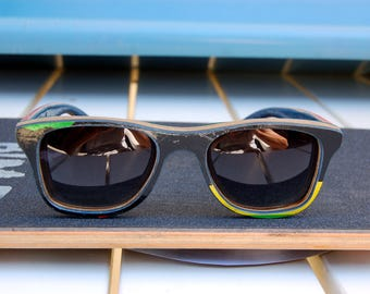 Green blue yellow white black natural recycled skateboard wood sunglasses, wayfarer style, men sunglasses, women sunglasses