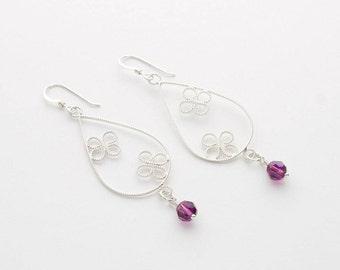 Silver Teardrop Earrings, Butterfly Amethyst Earrings, Drop Dangle Earrings, Sterling Silver Filigree Jewelry, Amethyst Jewelry