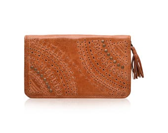 PEACOCK. Womens leather wallet / small leather wallet / travel wallet / boho wallet / bohemian wallet. Available in different leather colors