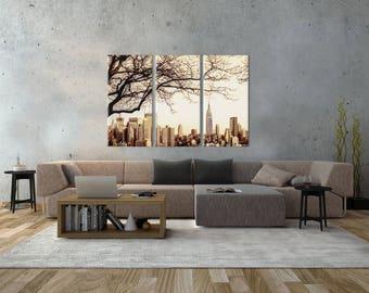 3 Panels,Manhattan New York , jersey view, Canvas oil printing.