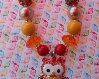 "18"" Fall Owl Thanksgiving Chunky Bead Girls Necklace *ready to ship*"