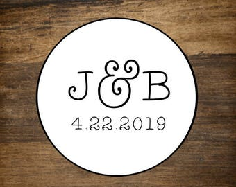 """Monogram labels, 1.5"""" round, set of 30, wedding monogram, personalized stickers, White or Kraft brown, bridal shower, party favor stickers"""
