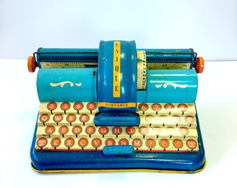 Vintage Toy Tin Portable Typewriter - Unique Art Manufacturing Company - Made in USA - New York - New Jersey - Antique - Childrens