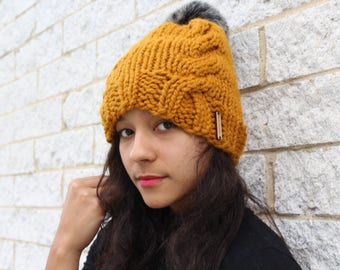 Women's winter knit hat, Cable knit hat, Faux fur pom pom hat with knit cables - The Kyoto- Gift for her