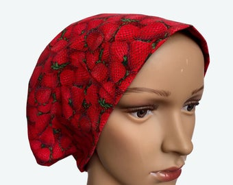 Euro Scrub Hat - Packed Strawberries Scrub Hat for women - Slouchy hat with Strawberries