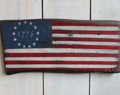 Handmade Wood Sign - Primitive Colonial American Flag, 13 Stars, Colonial Flag, Hand painted flag, Reclaimed Live Edge Wood, Rustic Flag