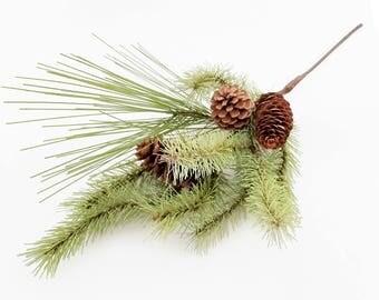 "Pine Spray Pick | 15"" Artificial Greenery Stem | Pine Cones | Wreath Supplies | Holiday Centerpiece | Mantel Decor | The Blue Hutch EV26"