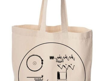 Outer Space Bag, Spaceship, Astronomy Totebag, Voyager Golden Record Gift