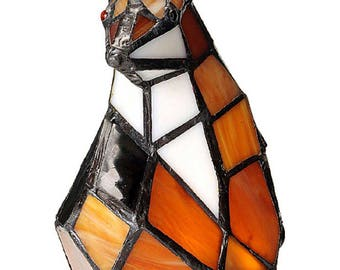Stained Glass Battery Fox Lamp