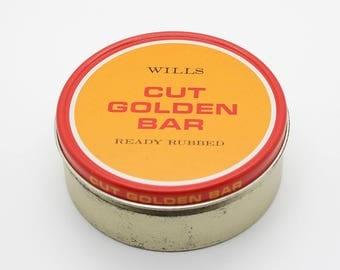 Vintage Wills Cut Golden Bar Small Round Tobacco 25g Tin