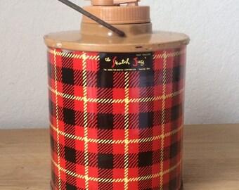 The Skotch Jug , Vintage Half Gallon Plaid Metal Jug, Hamilton Skotch Corporation, 1950s
