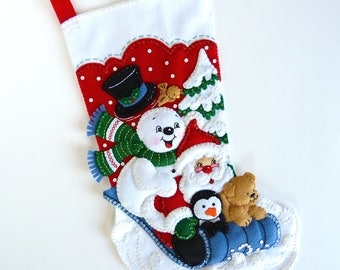 Bucilla Christmas Stocking Finished Bucilla Stocking Personalized Stocking Felt Christmas Stocking Family Stocking Gift Winter Fun Snowman
