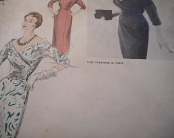 Vintage 1950's Vogue 1256 Paris Original by Schiaparelli Dress Sewing Pattern Size 12 Bust 30