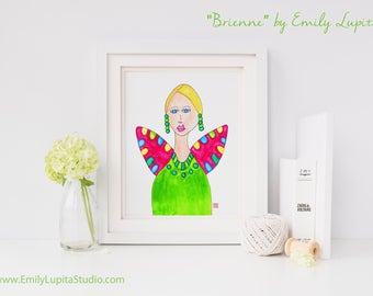 Art Print / Painting Invitation Stationary Card / Blonde Blue Eyed Woman Angel Wings / Portrait Wall Art / Craft Project Print at Home DIY