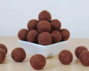 Felt Balls: CHOCOLATE, Felted Balls, DIY Garland Kit, Wool Felt Balls, Felt Pom Pom, Handmade Felt Balls, Brown Felt Balls, Brown Pom Poms