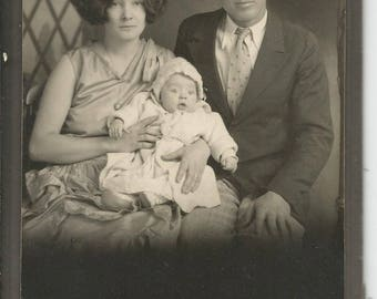 Vintage 1920's Young Couple with a Baby Flapper Hair Roaring 20's