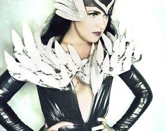 Wonder woman Superhero inspired costume set futuristic tiara artistic headpiece crown epaulette accessory burning man festival