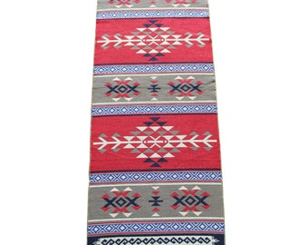 Long Kilim Runner - New Reversible Long Turkish Kilim Runner Rug in Red, Blue and Grey - 255cm