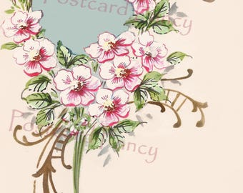 Decorative Hand Painted Flower Border Frame on Vintage Postcard, Instant DIGITAL Download, Add Text or Photo, Printable