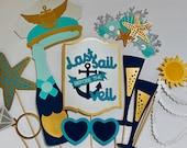 Nautical Photo Booth - Last Sail Before The Veil Photo Props - Bachelorette Party Theme, Mermaid, Under The Sea, Captian, Pilot