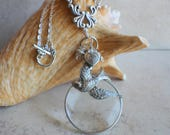 Magnifying Glass Necklace, Magnifying Glass Pendant, Silver Dove Pendant, Monocle Pendant, Dove Necklace, Magnifier, Magnifying Loupe