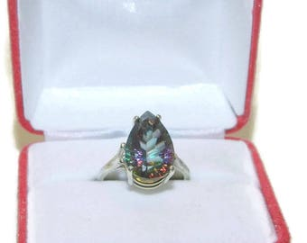 Pear Cut Mystic Topaz Ring, Sterling Silver Ring With Big Stone, Ring With Rainbow Stone