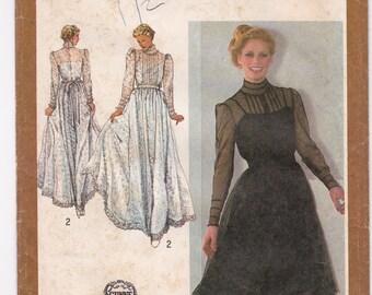 FF 80s Gunne Sax Designer Couturier Dress Pattern, Maxi, Wedding Dress, Party Dress Sewing Pattern, Simplicity 9585, Size 12, Bust 34, UNCUT