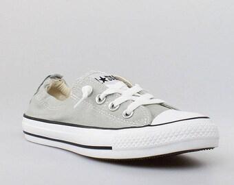 Gray Converse Cloud Shoreline Slip on Custom Kicks w/ Swarovski Crystal Rhinestone Jewel Bling Grey Chuck Taylor All Star Sneakers Shoes