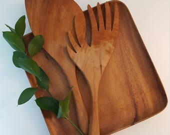 Vintage Wood Serving Utensil Set Wooden Salad Pasta Utensils