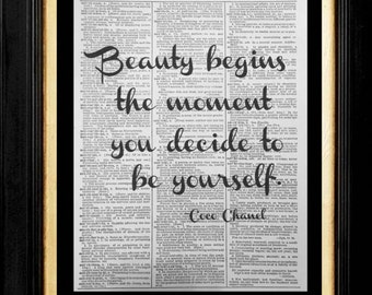 Coco, Beauty Begins the Moment you Decide to Be Yourself, Coco, Chanel Quote, Coco Chanel Wall Art, Affirmation Art