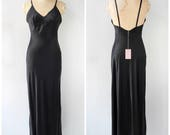 Vintage Inspired Nightgowns, Robes, Pajamas, Baby Dolls Vintage 1930s 1940s Satin Rayon Slip Gown  Bias Cut Dress Black Bias Cut Slip Black Gown  M Medium $75.00 AT vintagedancer.com