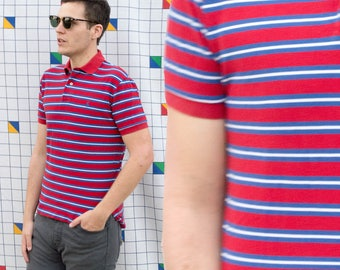 JULY 1990s Vintage Ralph Lauren Polo Shirt Red White and Blue Striped Short Sleeve Polo