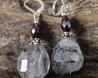 Silver stone earrings raw Garnet and black rutil faceted