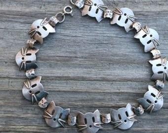 ADORABLE Vintage 925 Sterling Silver Kitty Cat Bracelet