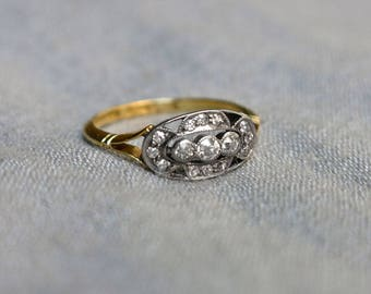 Edwardian Mine Cut Diamond Platinum and 18KT Gold Ring - Spectacular