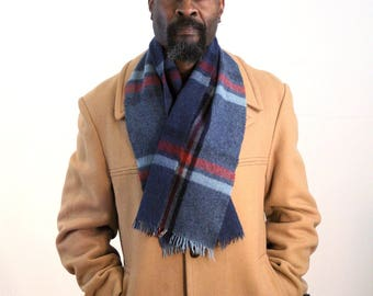 90s Mens Winter Scarf, Plaid Wool Scarf, Gray Blue & Red Plaid Scarf, Warm Winter Scarf, Warm Wool Scarf, Men's Gift