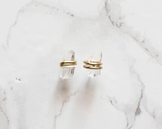 Dainty Wire Wrapped Crystal Quartz Stud Earrings