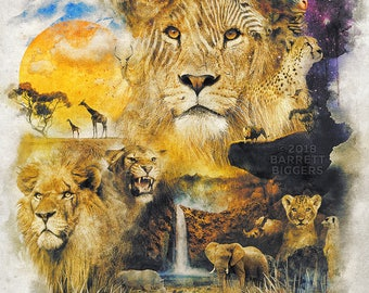 Lion Africa nature animal surrealism landscape digital art signed premium quality giclée print