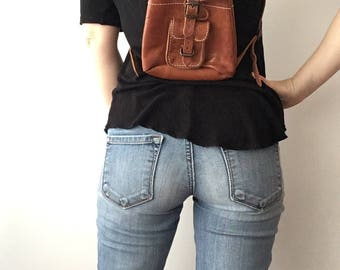 Vintage Mini Leather Backpack - Leather Bag - Made in Greece